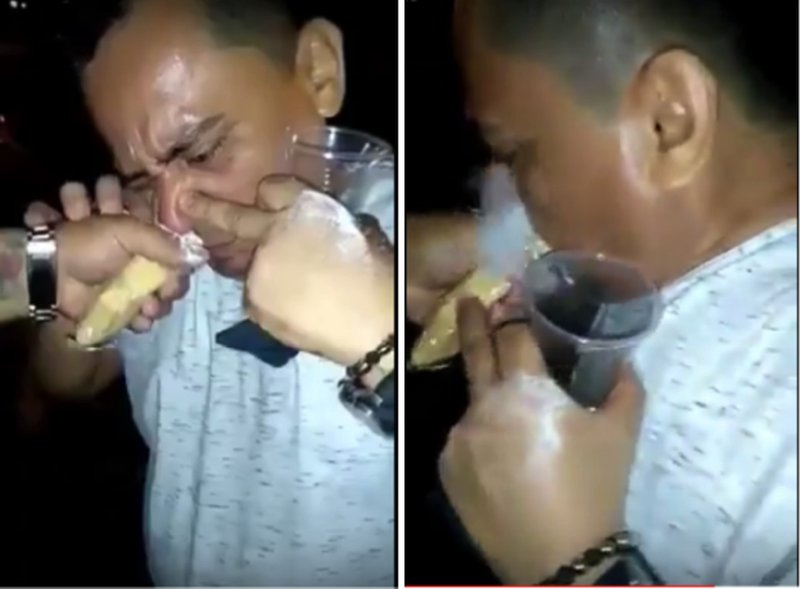#VIDEO Graban a funcionario inhalando un `megapase´de cocaína.