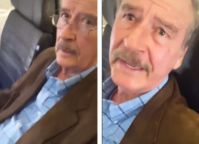 VIDEO: Captan a Vicente Fox agrediendo a simpatizante de AMLO en pleno avión.