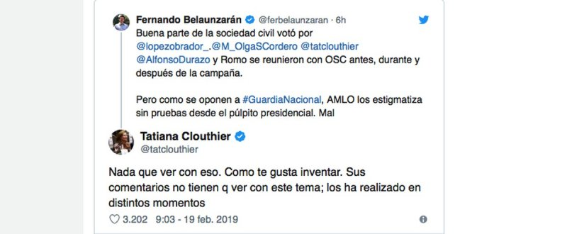 Resultado de imagen para Así trolea y exhibe Tatiana Clouthier a Fernando Belaunzarán.